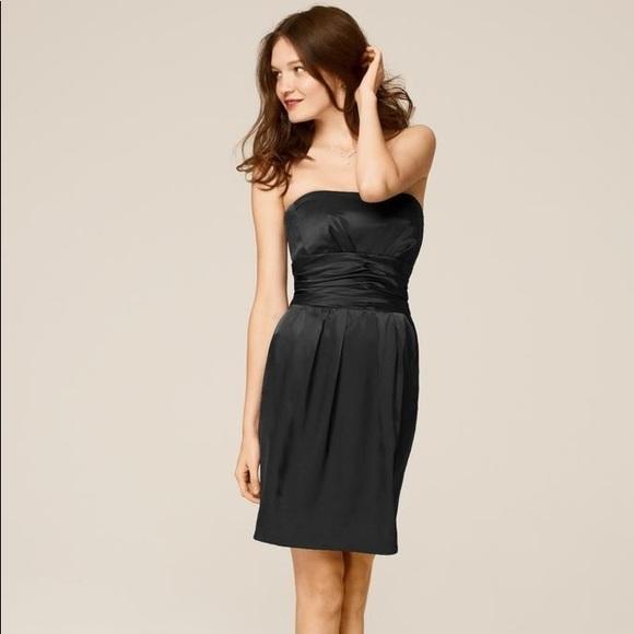 Davids Bridal Dresses Black Short Charmeuse Dress Ruched Waist